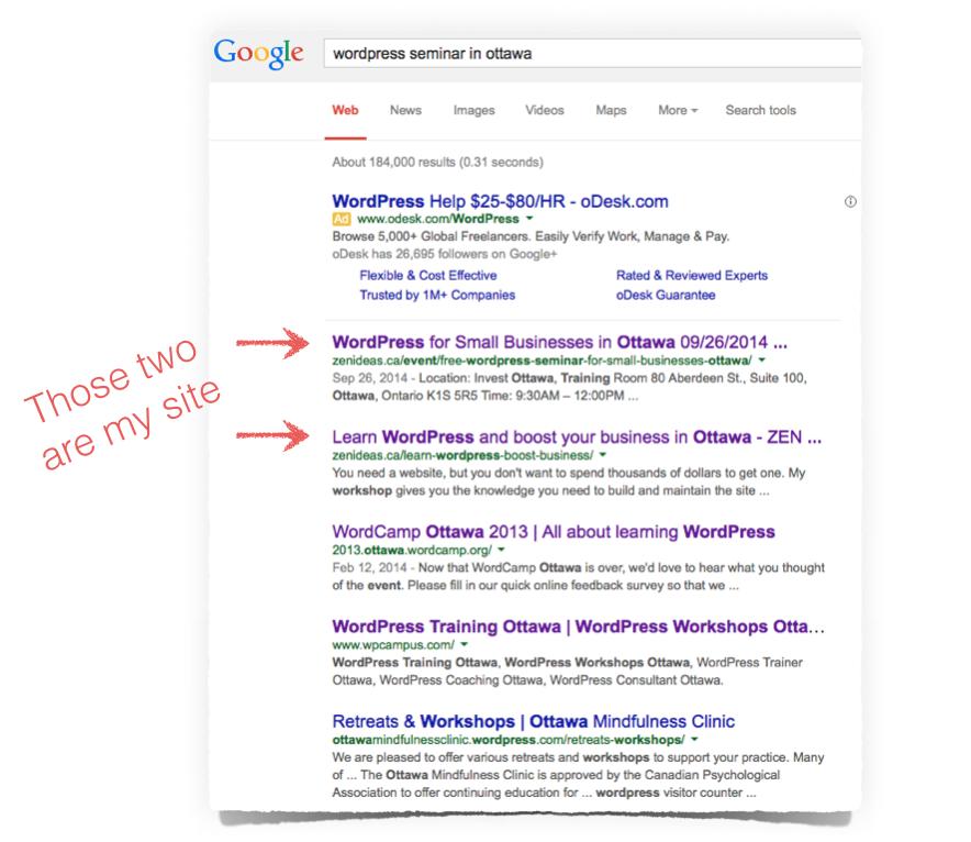 WordPress SEO top ranking result