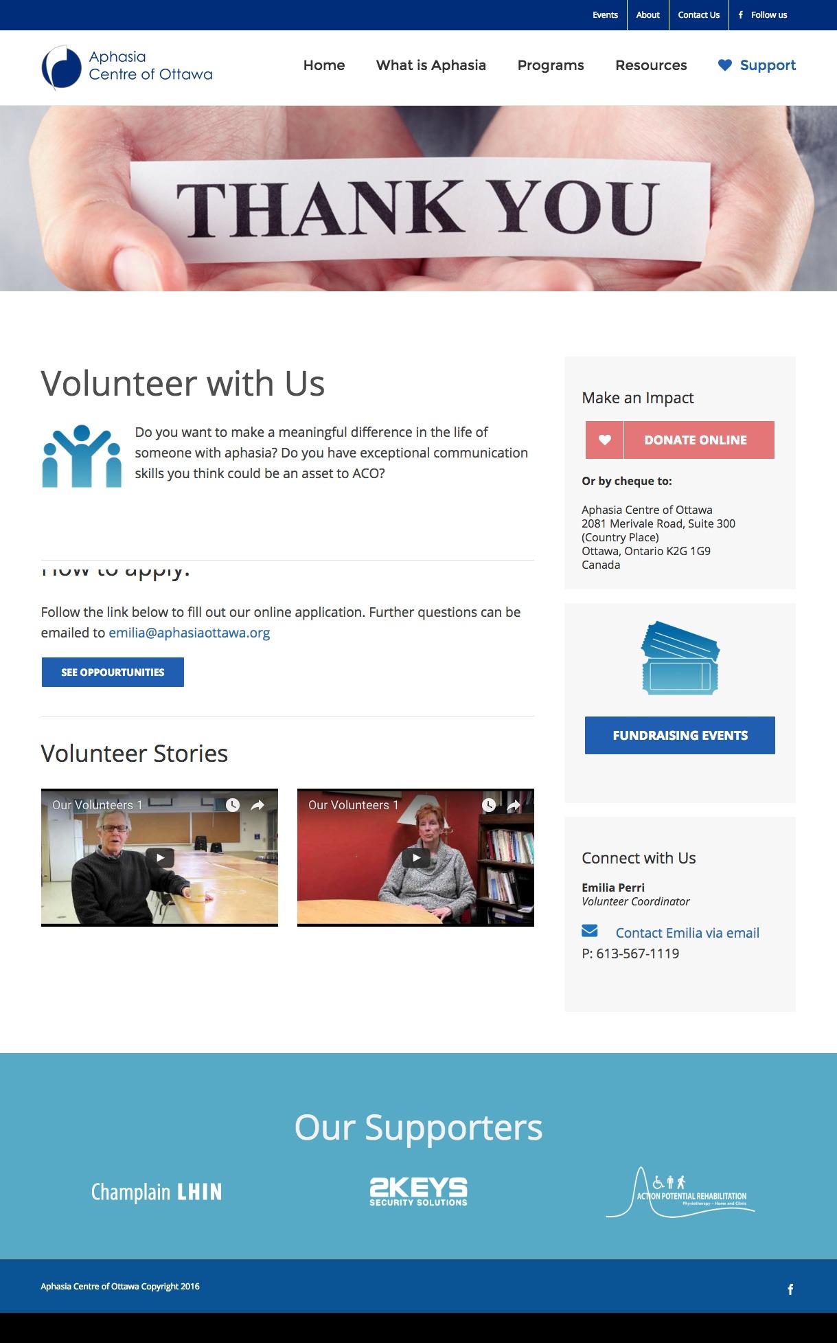 Aphasia Centre Ottawa-volunteer