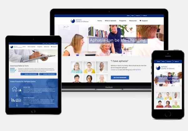 Aphasia centre of Ottawa web project wordpress