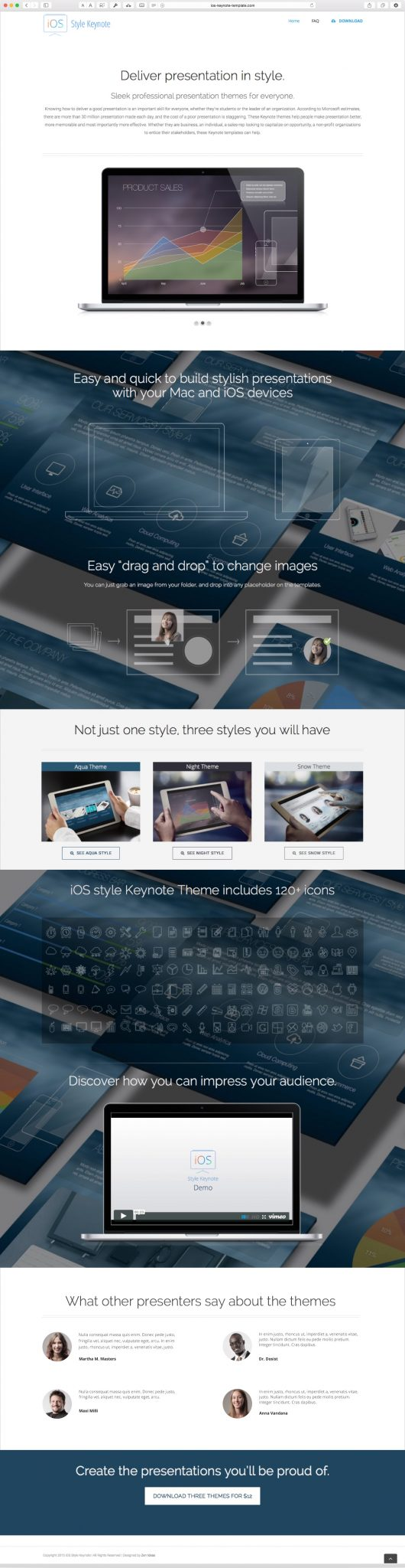 iOS style keynote template website